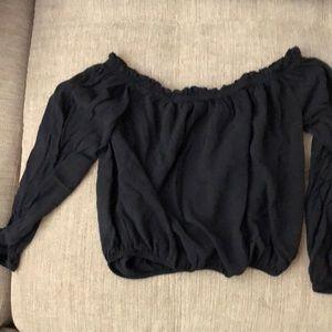 Brandy Melville long sleeve crop top black